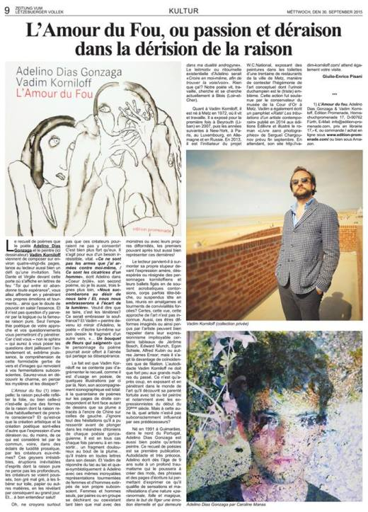 photo article L'amour du fou octobre 2015