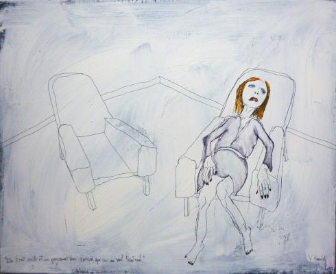 Elle était seule et ne pouvait donc s'assoir que sur un seul fauteuil