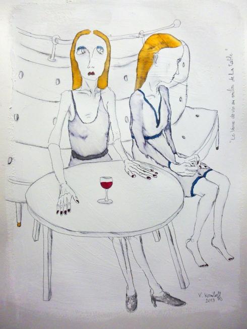 Le Verre De Vin Au Milieu De La Table 001
