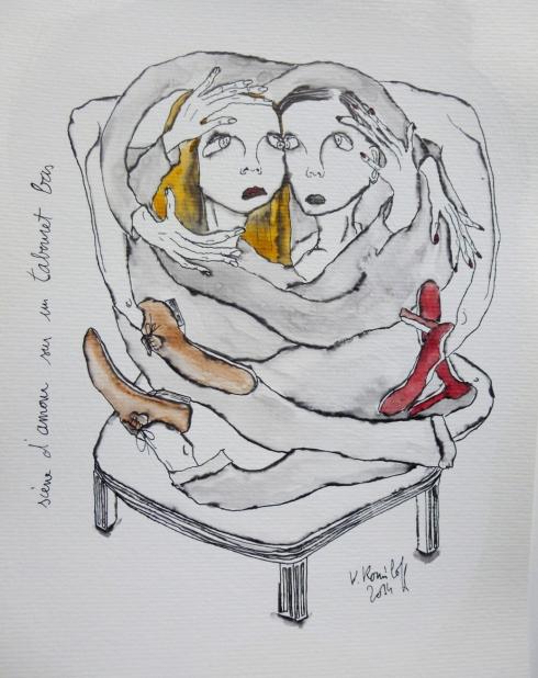 Scène D'amour Sur Un Tabouret Bas
