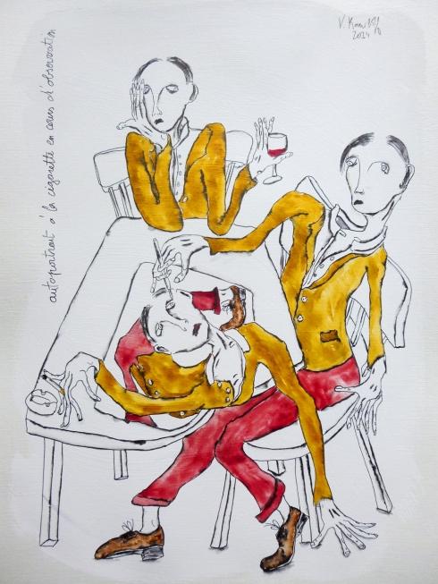 Autoportrait À La Cigarette En Cours D'observation