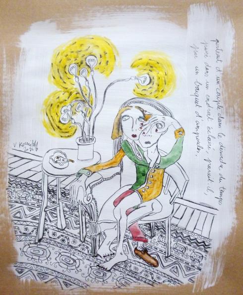 Portrait D'un Couple Dans Le Désordre Du Temps Passé Dans Un Endroit Eclairé, Parait-Il, Par Un Bouquet D'ampoules