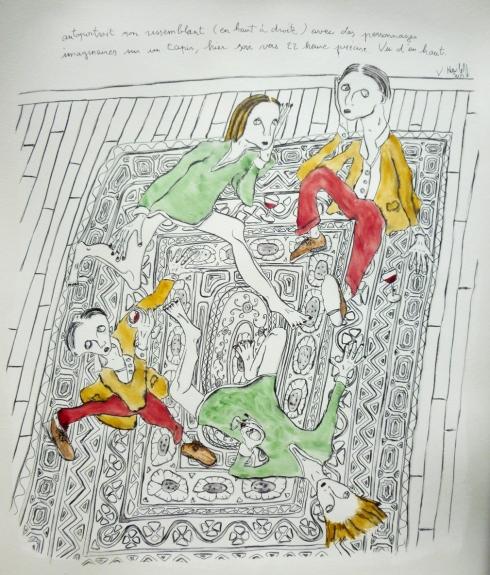 Autoportrait Non Ressemblant (En Haut À Droite) Avec Des Personnages Imaginaires Sur Un Tapis, Hier Soir Vers 22 Heures Précise. Vu D'en Haut